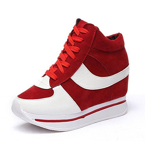 Tangle Women's Formal Wedge Hidden High Heel Red Canvas Leather Fashion Sneaker(5US)) by Tangle