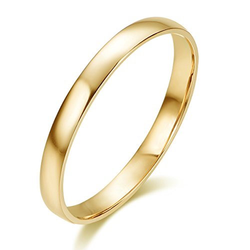 10k Solid Gold 2mm Light Comfort Fit Classic Plain Wedding Band (yellow-gold, 8)
