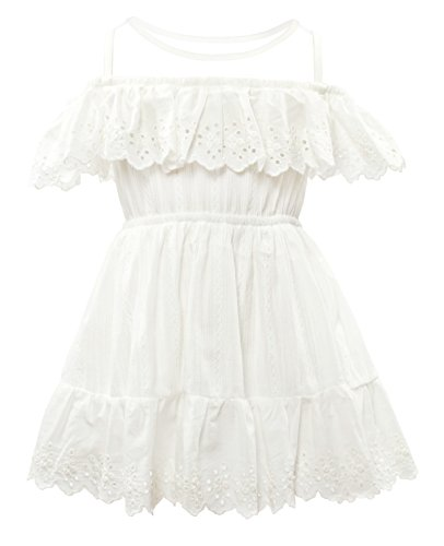 CIELARKO Girls Dress Summer Mesh Sleeveless Children Dresses (5-6 Years, White)]()