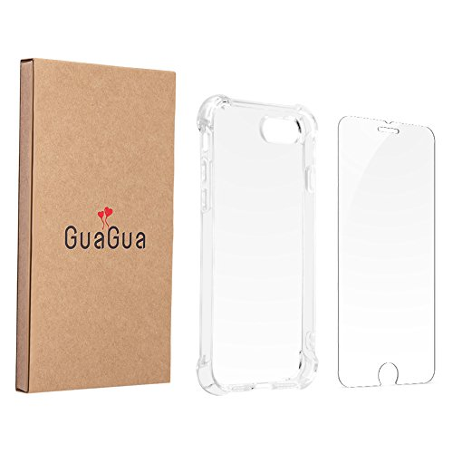 GuaGua Case Compatible with iPhone 7, iPhone 8 and Tempered Glass | 360 Protection - Shock Absorption Bumper | Soft TPU Cover Skin Cases for iphone 7/8 | Built-in Screen Protector Clear by GuaGua (Image #9)