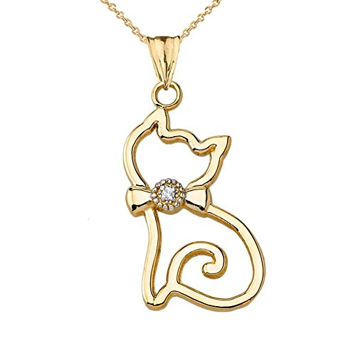 Unique 14k Yellow Gold Diamond Openwork Cat Charm Pendant Necklace, 20