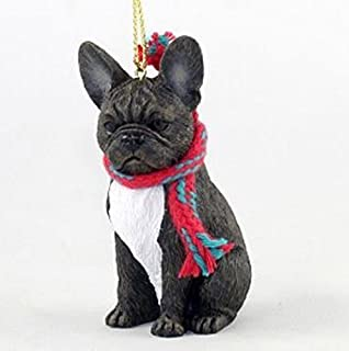 french bulldog with scarf christmas ornament large 3 inch version dog