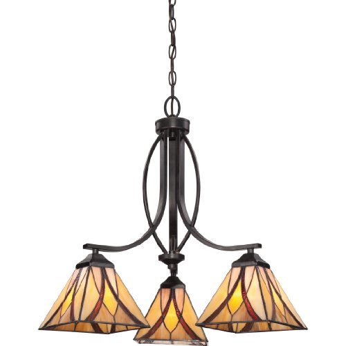 Quoizel TFAS5003VA 3-Light Asheville Dinette Chandelier in Valiant Bronze (Chandelier 3 Finish Bronze Light)