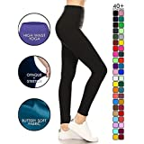 LYR128-BLACK2 Yoga Solid Leggings, One Size