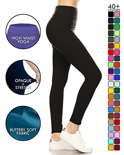 LYX128-BLACK2 Yoga Solid Leggings, Plus Size