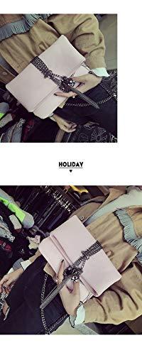 embrayage ladies sac bandoulière mode pliage sac main métal sac gland à PU Rose à Noir punk sac enveloppe crossbody sac cuir de messager de Pnizun Fp7xqan