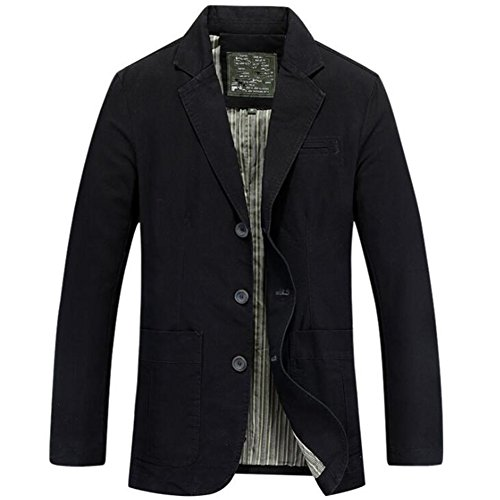 Newbestyle Men's Casual Solid Cotton Twill Suit Three-Buttons Blazer Jacket Black Medium