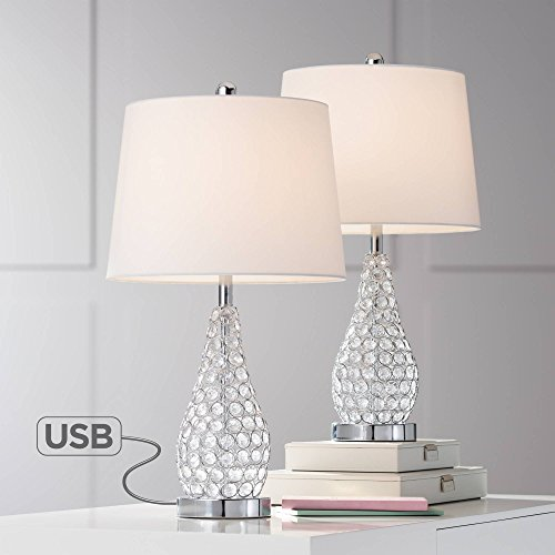 (Sergio Modern Accent Table Lamps Set of 2 with Hotel Style USB Charging Port Chrome Empire Shade for Living Room Family Bedroom Bedside - 360)