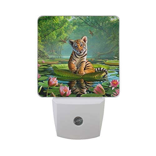 Gaz X Tiger Lily LED Night Light Dusk to Dawn Sensor Plug in Night Home Decor Desk Lamp for Adult (Lily Tiger Lamp)