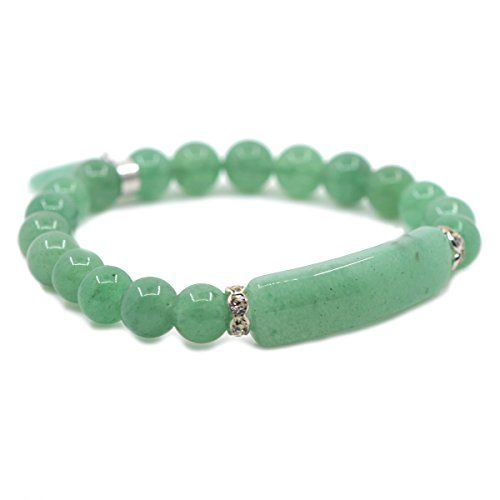 Natural Green Aventurine Gem Semi Precious Gemstone Love Heart Charm Stretch Bracelet