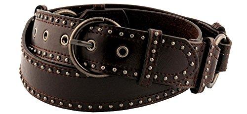 Womens Beautiful Mini Metal Stud Detail Belt Brown Medium ()
