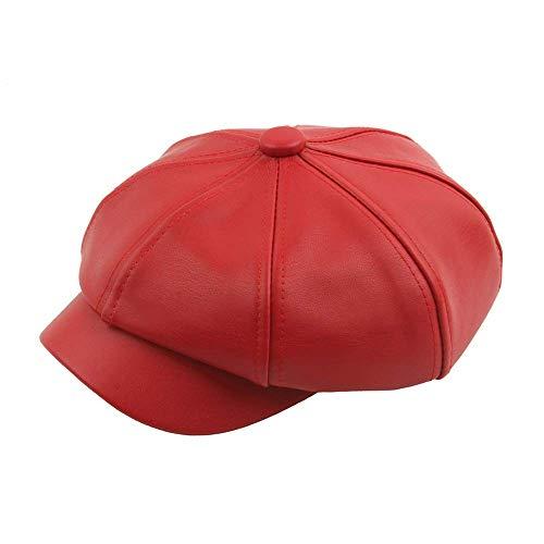 Women Solid PU Leather Newsboy Octagonal Cap Vintage Hat Beret Cap