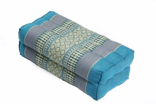 Pillow Block (14x6x4 In) Kapok-filled, Support Cushion for Yoga and Meditation, Traditional Thai Design Lightblues