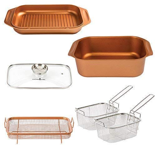 12 QT 14 In 1 Multi-Use Copper Chef Wonder Cooker with roasting pan and lid, Multi-Use Grill pan, 9 X13 Baking Pan, 12 Qt Capacity