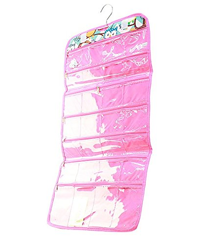 Owl Chevron Stripe Print Roll up Hanging Jewelry Travel Case Hot Pink