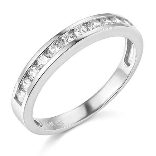 TWJC 14k White Gold SOLID Channel Set Wedding Band - Size ()