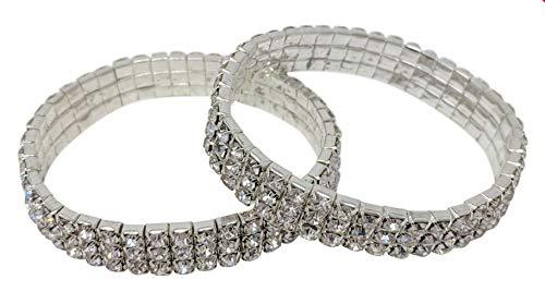 SIMPLICHIC Single Pack, Pack of 2, 3 Row Rhinestone Stretch Bracelet Gold-Tone Silver-Tone