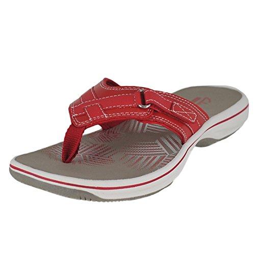 Clarks Women's Breeze Sea Flip-Flop - New Red Synthetic -...