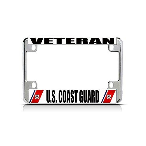 Veteran U.S. Coast Guard Chrome Metal Bike Motorcycle License Plate Frame Tag Perfect for Men Women Car garadge Decor