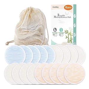Coton démaquillant lavable 18 PCS Lingette demaquillante lavable réutilisable Biologique + 1 Sac à linge | Tampon Velours (devant) & Fibre du bambou (dos) Super doux Double épaisseur 4