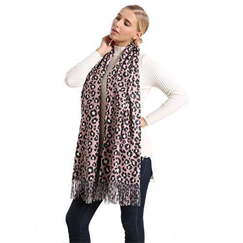 Women's Winter Premium Fashion Leopard Print Infinity Scarf Shawl Wrap With Tassels (03)