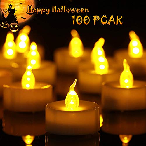 Divine Dinner Party Halloween (Homemory Battery Tea Lights Bulk, 100-Pack Flameless LED Tea Candles, Electric Tea Lights with Flickering, Long-Lasting Battery Life, Amber Yellow, 1.4'' D X 1.25'')