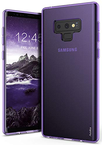 Galaxy Note 9 Case, Aeska Ultra [Slim Thin] Flexible TPU Soft Skin Silicone Protective Case Cover for Samsung Galaxy Note 9 (Purple)