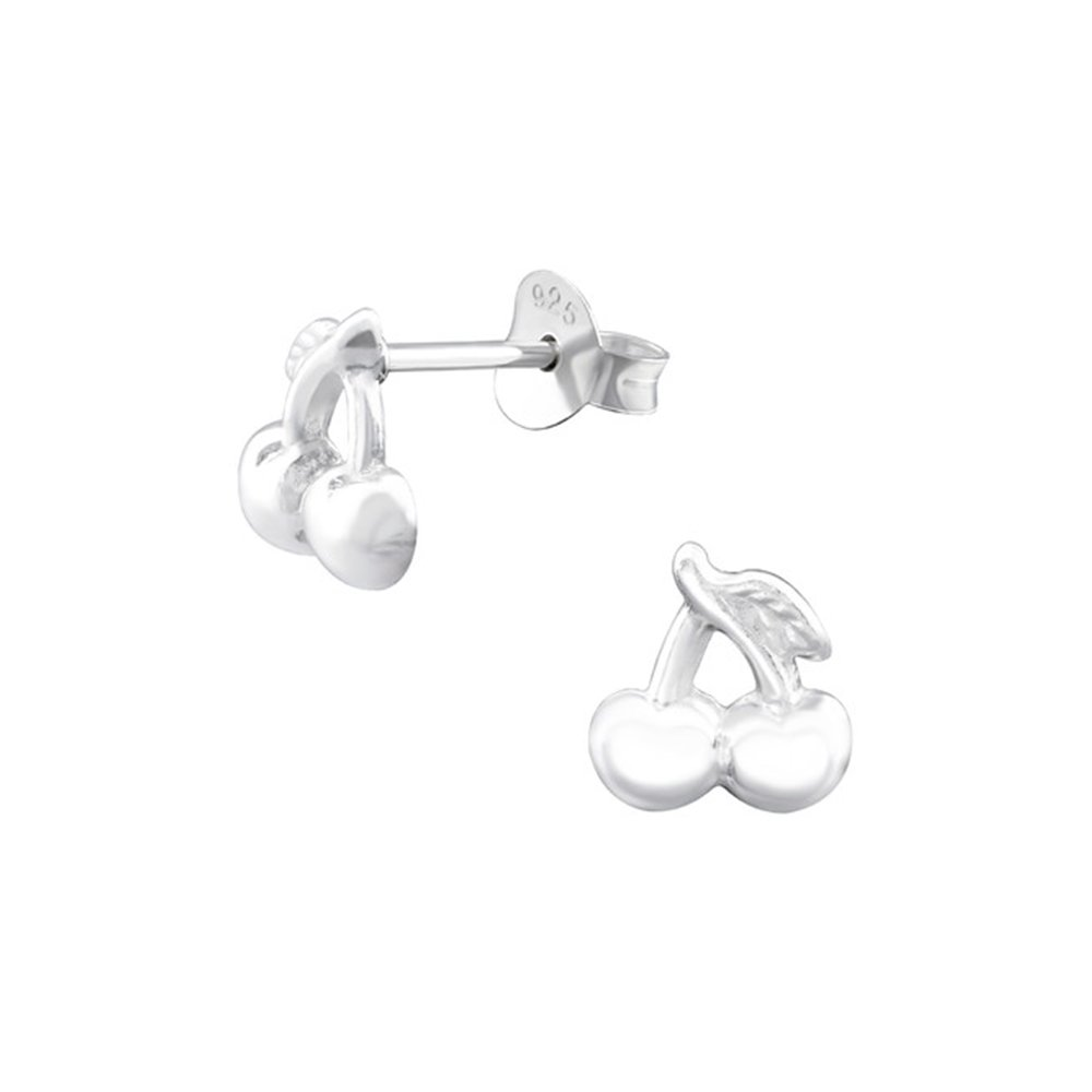 Girls Cherry delicate Ear Studs 925 Sterling Silver
