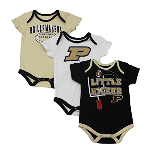 College Set Boilermaker (GEN2 Baby Purdue Boilermakers Little Kicker 3 Pack Bodysuit Set)