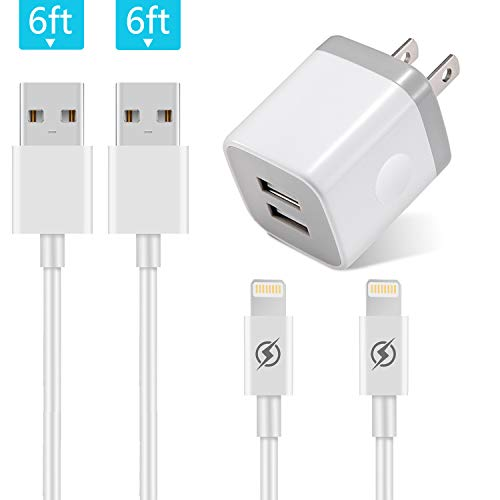 USB Wall Charger, JUNVANG 2.1A/5V Dual Port USB Plug Power Adapter with 2-Pack 6Ft Charging Cable Compatible for iPhone X/8/7/6S Plus SE/5S/5C