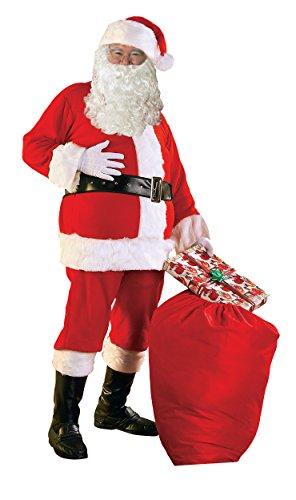 Santa Complete Suit (Rubie's Men's Flannel Santa Suit and Accessories Bundle, Multi, One)