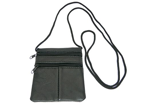 Small Soft Patchwork Leather Neck Purse / Pouch / ID Holder - 2 Zipped Compartments - 1 Transparent Window - BLACK LEATHER