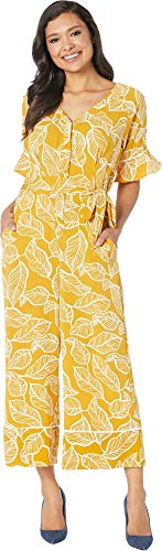 eci Women's Floral Printed Ruffle Sleeve Wide-Legged Jumpsuit with Self Tie Mustard 10