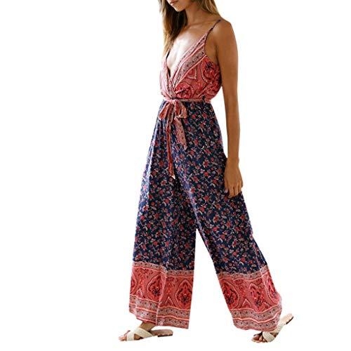 (Women's Summer Sling Jumpsuit Sexy Tie Waist Printed)