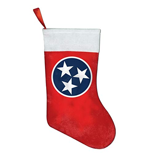 NGFF Tennessee State Flag Star Classic Christmas Stocking, Holiday Hanging Socks Ornaments Decorations Santa Party Accessory Kids Gift/Treat Bags