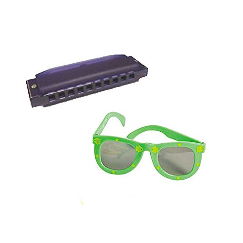 VBS Island Theme -Music pack W/Purple Harmonica & Kids' Fish Print Green Sunglasses