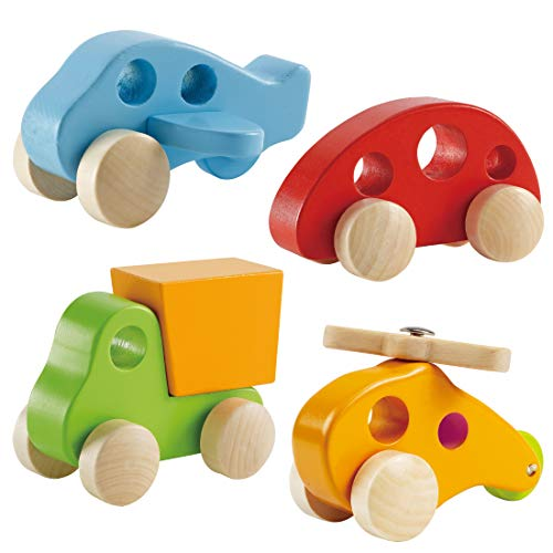 Wooden Cars Infant Toys - Hape Wooden Toy Cars Airplane Truck and Helicopter...