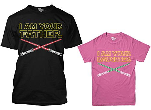 I Am Your Father/I Am Your Daughter Matching Youth & Men's T-Shirt (Black/Pink, Men's Large/Youth X-Small)