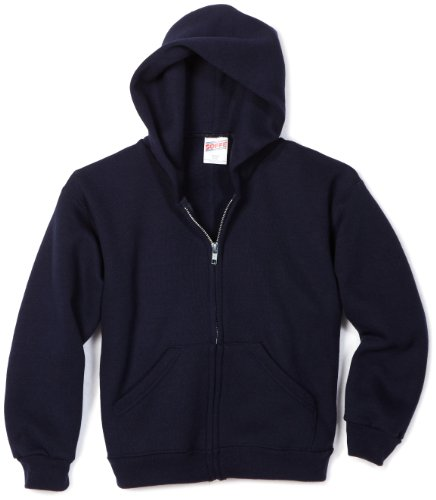 Soffe MJ Big Boys' Zip Hooded Sweatshirt, Navy, Small