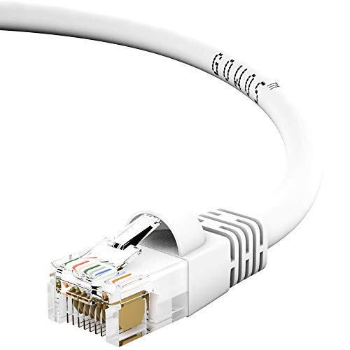 GOWOS Cat6 Ethernet Cable (50-Pack - 150 Feet) White - 24AWG Network Cable with Gold Plated RJ45 Snagless/Molded/Booted Connector - High Speed LAN Internet/Patch Cable for PC/PS4/Xbox - ETL Listed ()