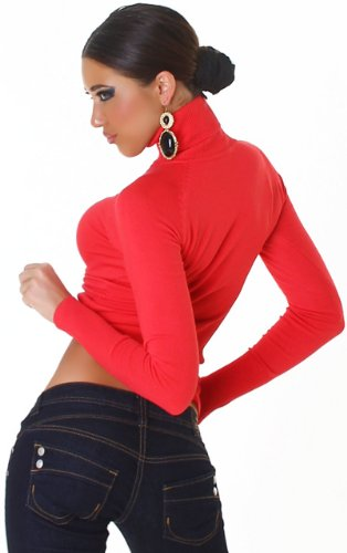 Jela London- Jersey de cuello cisne para mujer, talla única (32-38) albaricoque