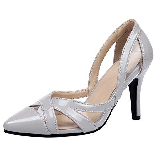 COOLCEPT Mujer Moda Slip On Sandalias Cerrado Hueco Tacon de Aguja Zapatos Gris