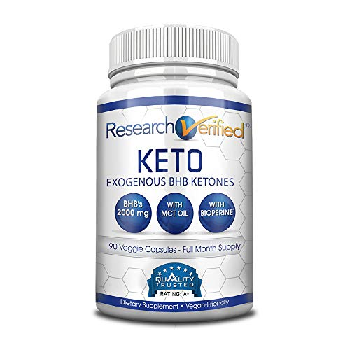 Research Verified Keto - Vegan Keto Supplement with 4 Exogenous Ketone Salts (Calcium, Sodium, Magnesium and Potassium) and MCT Oil to Boost Energy, Weight Loss and Focus in Ketosis - 1 Bottle