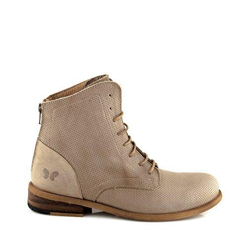 Felmini - Zapatos para Mujer - Enamorarse com Bomber 8963 - Botas com Cordones - Cuero Genuino - Marrón claro Marrón claro