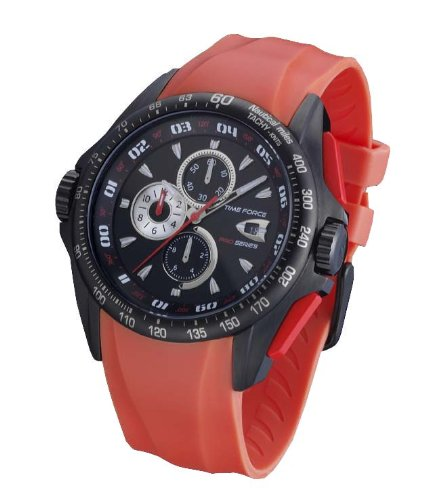 Time Force TF3122M12 - Reloj de caballero de cuarzo, correa de caucho color rojo: Amazon.es: Relojes