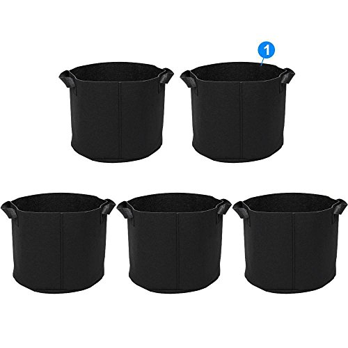 Topeakmart Grow Bag 5 Packs 5 Gallon Plants Growing Pots w/ Handles, Aeration Fabric Pots Ideal for Outdoor / Indoor Planting, Portable Plants Container - Easy to Set Up & Easy to Transfer