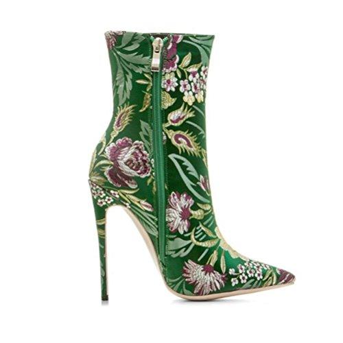 laterale tacco floreale Martin punta Donne Boots Boots QPYC signore alto green Short tacco Fine a in Cerniera raso 47PWtqHFOW