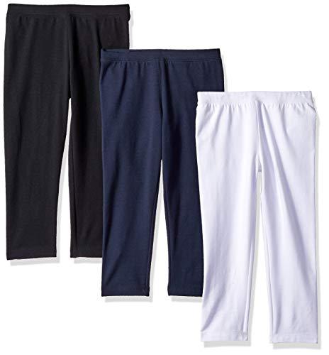 Amazon Essentials Little Girls' 3-Pack Capri Legging, Navy Blazer/Black Beauty/Bright White, S
