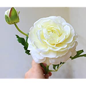 Skyseen 6PCS Tea Rose Bouquet Simulated Camellia Bride Holding Flowers Wedding Artificial Flowers,White 22