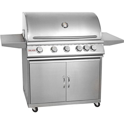 "Blaze BLZ-5NG + BLZ-5-CART 40"" Grill on Cart with 5 Commercial Quality 304 Cast Stainless Steel Burners Infrared Rear Rotisserie Burner 80 000 Total BTUs and 915 Square Inches of Total Cooking Space in Stainless Steel: Natural"